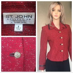 St. John collection cherry/black blazer jacket 2